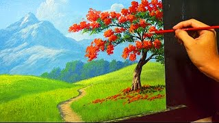 getlinkyoutube.com-Acrylic Landscape Painting Lesson - The Fire Tree by JMLisondra