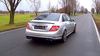 getlinkyoutube.com-Mercedes C63 AMG Sound FLY BY Acceleration V8 X Pipe Exhaust Shift Down Kickdown
