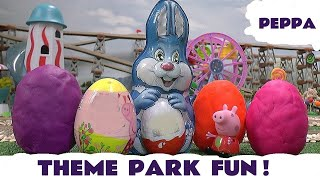getlinkyoutube.com-Peppa Pig Play Doh Kinder Surprise Eggs Molly Thomas The Tank Hello Kitty Mega Bloks Easter Egg