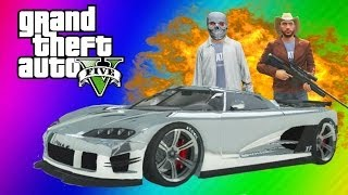 GTA 5 Online Funny Moments Gameplay - Chrome Car Chase, Jumps, Bus Trick, Dump Truck (Multiplayer)