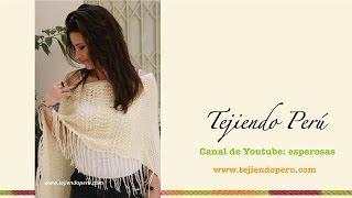 getlinkyoutube.com-Poncho irregular tejido en dos agujas para dama