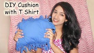 getlinkyoutube.com-DIY Cushion with old T Shirt | no sew | Niya Kumar