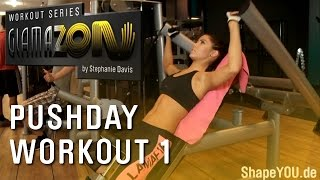 getlinkyoutube.com-Stephanie Davis - GLAMAZON Pushday - Workout One