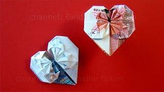 getlinkyoutube.com-Geldschein falten Herz: Geldgeschenke Hochzeit basteln - Geld falten Herz - DIY Origami Geschenk