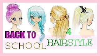 getlinkyoutube.com-Drawing Tutorial | Back to School | 4 Hairstyles