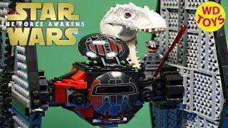 getlinkyoutube.com-Star Wars  Lego First Order  TIE fighter Vs T-Rex Jurassic World  Force Awakens  75101  WD Toys