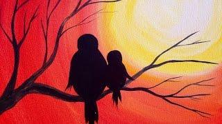 getlinkyoutube.com-Easy Acrylic Painting | Simple Mama Bird Sunset | The Art Sherpa