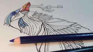 getlinkyoutube.com-ASMR Adult Coloring - Enchanted Forest - Blue Bird #1 - Blended pencil Prismacolor Premier