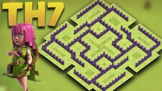 getlinkyoutube.com-Clash of clans - Town Hall 7 (TH7) Trophy Base/Hybrid Base + Defense Replays 2016
