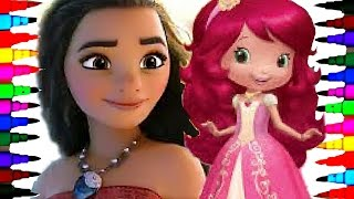 getlinkyoutube.com-Disney Princess Moana and Strawberry Shortcake Coloring Book Pages Kids Learn Fun Art Activities