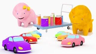 Aprenda as cores pintando carros com Dina e Dino, os Dinossauros | Aprender em português