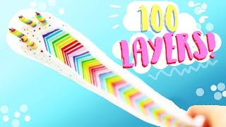 DIY CRAZY 100 LAYER RAINBOW CAKE!! - In Polymer Clay // 400k subs!
