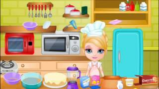 getlinkyoutube.com-Sweet Baby Barbie Surprise Cake Video-Baby Cooking Games-Barbie Games