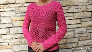 getlinkyoutube.com-How to crochet a sweater - raspberry stich stripes