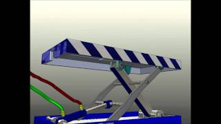 Small Hydraulic Scissor Lift Animation (solidworks)