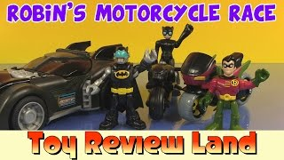 getlinkyoutube.com-Imaginext Robin in: Robin's Motorcycle Race, with Catwoman, Batman, and The Batmobile!