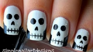 getlinkyoutube.com-Halloween Skull Nail Art Tutorial