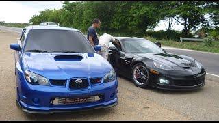 getlinkyoutube.com-The Valley Dragway | Subaru Impreza STI vs Chevy Corvette Z06 | Exhibición [28/04/13]