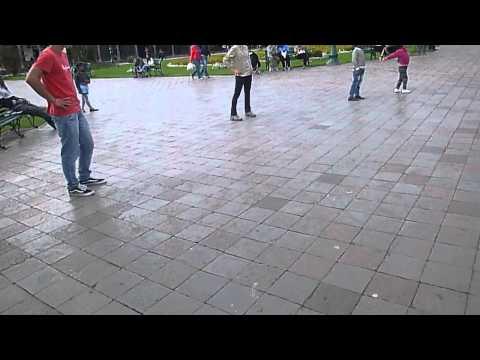 Frisbee in a Cusco Plaza