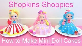 getlinkyoutube.com-Shopkins Cake - Shoppies Doll Cakes - Bubbleisha Jessicake Popette - How to Make Mini Doll Cakes