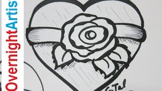 getlinkyoutube.com-Learn How To draw A Rose How To Draw A Heart