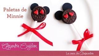 getlinkyoutube.com-Paletas de Minnie Mouse - DIY Minnie Mouse cookies