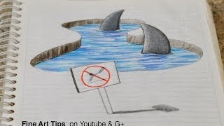 getlinkyoutube.com-Drawing 3D Sharks on my Notebook! - 3D Anamorphic Drawing (Time Lapse)