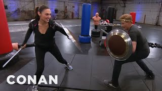 Conan Works Out With Wonder Woman Gal Gadot  - CONAN on TBS width=