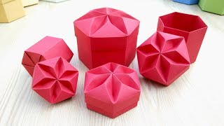 getlinkyoutube.com-Origami Hexagonal Box (Non Modular) - easy way! Easy DIY star box! Ideas for Christmas