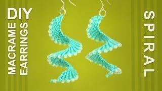 getlinkyoutube.com-Macrame Spiral Earrings / DIY Tutorial