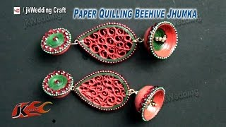 getlinkyoutube.com-Paper Quilling Beehive Jhumka DIY Tutorial | How to make | JK Wedding Craft 069