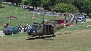 getlinkyoutube.com-USA RAN UH-1 Huey Helicopter Start & departure from the Lone Tree Cemetery.