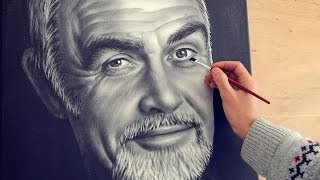 getlinkyoutube.com-Sean Connery speed drawing portrait dry brush (How To Paint)