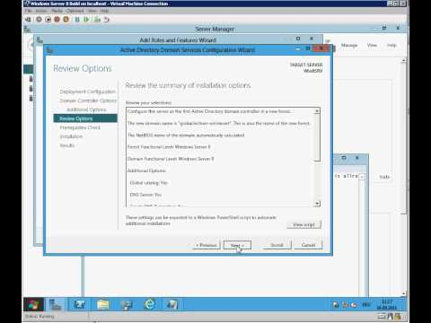 Windows Server 8 Active Directory Domain Services installation