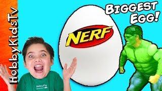 getlinkyoutube.com-World's BIGGEST NERF Surprise Egg! Hulk Attack Family Fun HobbyKidsTV