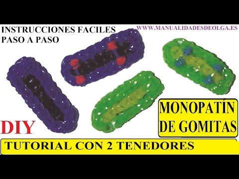COMO HACER UN MONOPATÍN O PATINETA DE GOMITAS CON DOS TENEDORES TUTORIAL DIY SIN TELAR RAINBOW LOOM