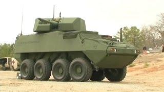 getlinkyoutube.com-Benning TV - 30mm Stryker 8X8 Armoured Wheeled Vehicle Demonstrator Live Firing [480p]
