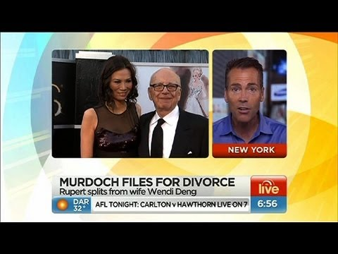 Sunrise - Rupert Murdoch files for divorce