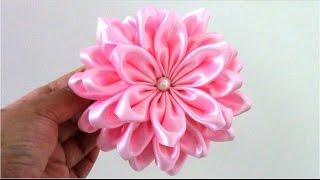 getlinkyoutube.com-Flores Kanzashi de 36 pétalos en cintas para el cabello