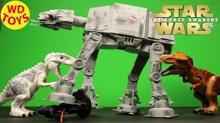 getlinkyoutube.com-Star Wars AT-AT Remote Control Vs Dinosaurs Jurassic World : Episode VII The Force Awakens WD Toys