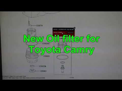 Oil filter product code for Toyota Camry car. 2.5 engine. Years 2011 to 2016