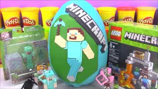 getlinkyoutube.com-Huge Minecraft Steve Giant Playdoh Surprise Egg with Lego Toys and Blind Boxes