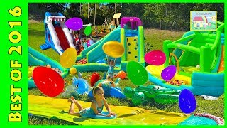 getlinkyoutube.com-Huge Eggs Surprise Toys Challenge Golden Egg Hunt on Water Slide for Kids Compilation Disney Frozen
