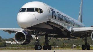 getlinkyoutube.com-Boeing 757 Jetblast Blows Away Buggy Car - Monarch @ Skiathos, the Second St Maarten - Spotting