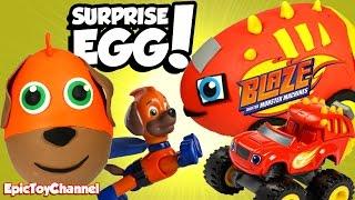 getlinkyoutube.com-SURPRISE EGGS! Paw Patrol VS Blaze & The Monster Machines Surprises with Disney Cars Toys Surprises