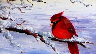 getlinkyoutube.com-How to Paint a Cardinal Bird in Acrylics Easy Tutorial
