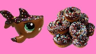 getlinkyoutube.com-Custom LPS Shark Chocolate Rainbow Sprinkle Donut Inspired DIY Littlest Pet Shop