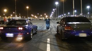 Nitrous LSx Mazda RX-7 vs E85 Big Turbo EVO on slicks!