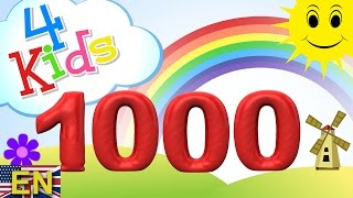 Numbers counting from 100 to 1000 for children in 100 steps. Counting hundred to thousand (english)