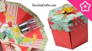 getlinkyoutube.com-Tarjeta explosiva Caja Sorpresa de regalo hexagonal Ideas para regalo Navideño - DecoAndCrafts